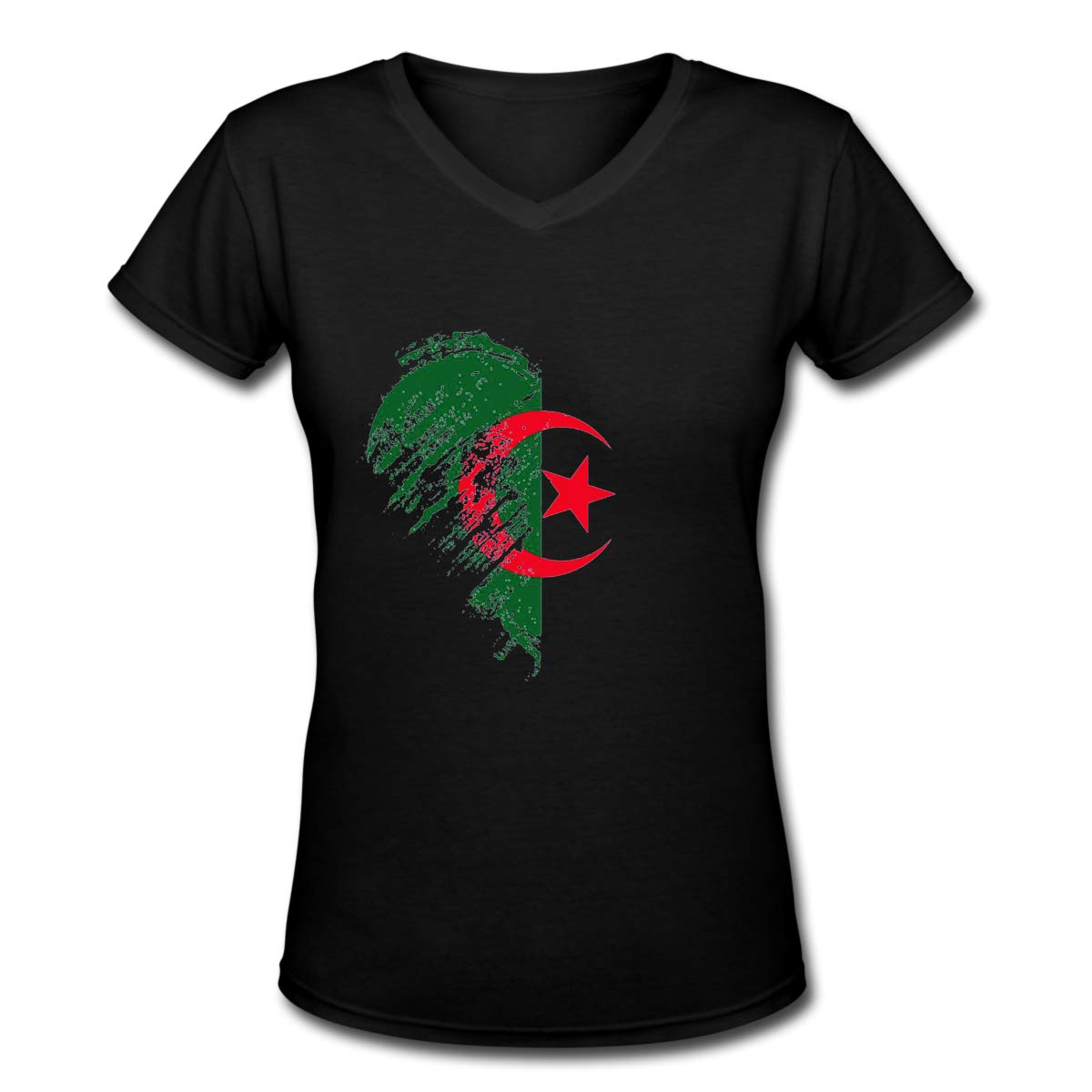 Grungy I Love Algeria Heart Womens T Shirt Casual Cotton Short Sleeve V-Neck Graphic T-Shirt Tops Tees