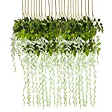 HEBE 12 Pack 3.6 ft Artificial Wisteria Vine Flowers Garlands Silk Wisteria Vine Ratta Hanging Flower for Indoor Outdoor Home Decor,Wedding,Party,Birthday (White, 12)
