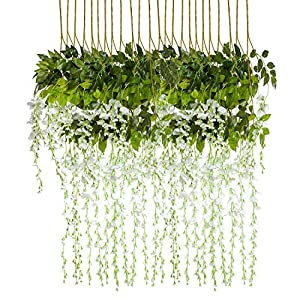 HEBE 12 Pack 3.6 ft Artificial Wisteria Vine Flowers Garlands Silk Wisteria Vine Ratta Hanging Flower for Indoor Outdoor Home Decor,Wedding,Party,Birthday 43