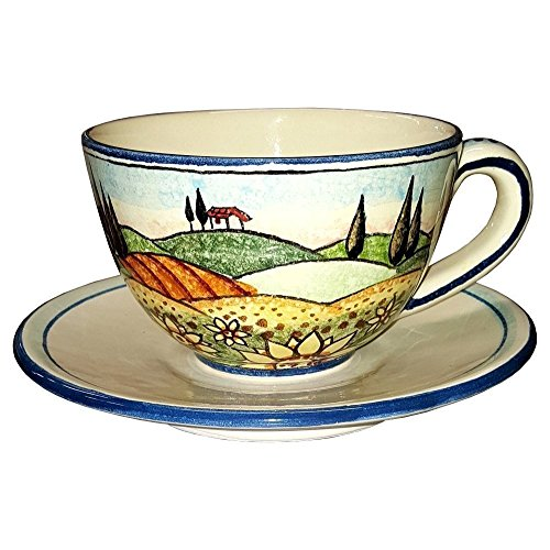 CERAMICHE D'ARTE PARRINI - Italian Ceramic Mug Cup & Saucer Breakfast Milk Sunflower Hand Painted Made in ITALY Tuscan