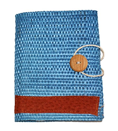 Refillable Handmade Henequen Fiber Cover Notebook (Blue) Large 5 x 7 In.
