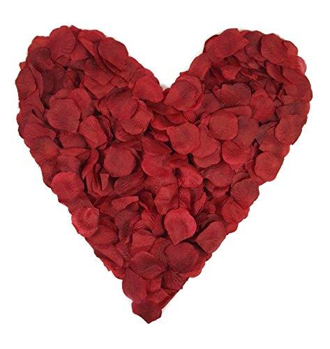 5x100 dunkelrote Rosenblätter, Stoff, bordeaux, insgesamt 500 Stück - Hochzeitsdeko, Valentinstag, Heiratsantrag, Streudeko, Liebe, Romantisch, Basteln