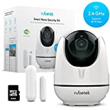 Rubetek WiFi Pan Tilt Home HD Security Camera-Indoor Wireless IP Security Surveillance DIY System Kit for Home Baby Pet Nanny Monitor with Free 32 GB Micro SD Card, 3 Pack Door Window WiFi Sensors