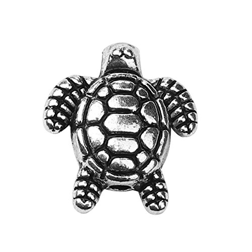 (Turtle 3D Charm Spacer Beads 48 Pack, Silver Tone 1/2 inch, 1.3mm Hole - Findings, DIY Crafts, Jewelry)
