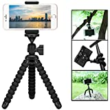 Mini Cell Phone Flexible Tripod holder, ZTON Adjustable Mobile Phone Mount, Universal Octopus Stand for iPhone, Samsung, Camera (Black)