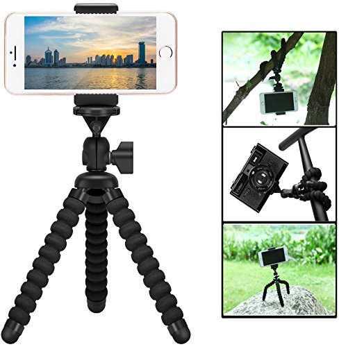 Mini Cell Phone Flexible Tripod Holder, ZTON Adjustable Mobile Phone Mount, Universal Octopus Stand for iPhone, Samsung, Camera (S-Black) (Desk Anywhere)