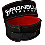 Iron Bull Strength Powerlifting Belt - 13mm Lever Weight Belt - 4-inch Wide - Heavy Duty for Extreme Weight Lifting and Power Lifting (Black/Red, X-Large)