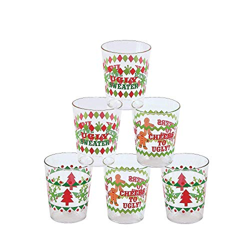 Fun Express Ugly Sweater Disposable Shot Glasses | 1-Pack | 42 Total Count | Great for Christmas Parties, Holiday Celebrations (Holiday Glasses Drinking)