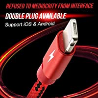 Professional 2 in 1 Cable Lightning USB Data Lines - Subtle Charging Lines with Micro USB - Lighting Cable Powerline Compatible for iPhone & Android Phones -Red