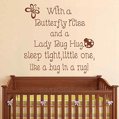 BATTOO With a Butterfly Kiss and a Ladybug Hug, Kids Room D¨¦cor Baby Girl Nursery Wall Art Sticker(brown, 44
