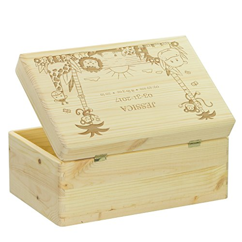 LAUBLUST Engraved Wooden Memory Box - Size L, 12x8x6in - ❤️ Personalized ❤️ Baby Keepsake Box - Jungle Design | Natural Wood - Made in Germany by LAUBLUST (Image #2)