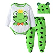 Eghunooy Newborn Baby Boys Girls Cute Cartoon Frog Print Romper+Pants+Hat Outfits Set (9-12 Months)