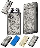(New Release 2017) Electronic USB Rechargeable Lighters-The Best Cigarette Lighter With New Design, Windproof, Flameless, Dual Pulse Arc. Souvernir Gift For Men, Women & Ladies (Black Dragon)