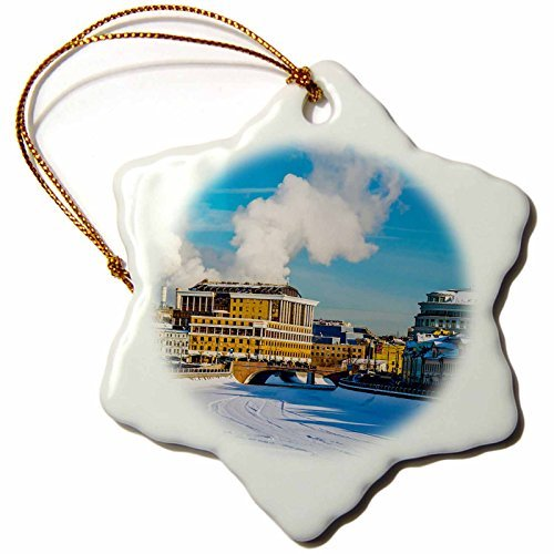 OneMtoss Alexis Photography Moscow City Bypass Canal of The Moscow River in Winter Day Snowflake Porcelain Ornament