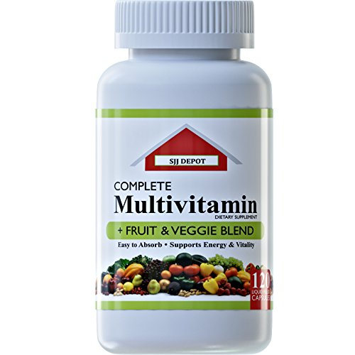 120 Multivitamin Fruit And Vegetable Liquid Capsules, Loaded Multivitamins, Supplements by SJJ Depot, Our Multiple Vitamin Supports Heart and Brain Health, Daily Women Men Senior Adult Multi (Senior Daily Vitamin Supplement)