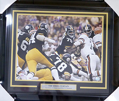 PITTSBURGH STEELERS STEEL CURTAIN AUTOGRAPHED FRAMED 16X20 PHOTO WITH 4 SIGNATURES INCLUDING GREENE, GREENWOOD, WHITE & HOLMES PSA/DNA STOCK #123706