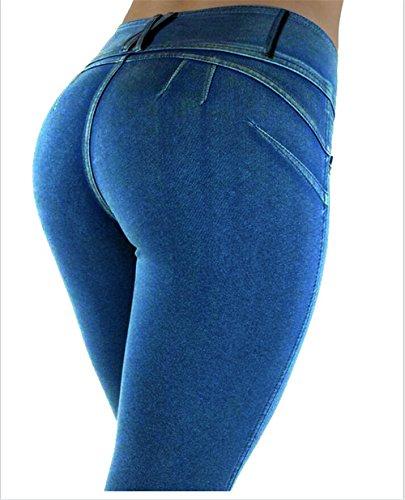 E Darrin Vita Pantaloni Da L Alta Elasticizzati Jeans Blu A Donna Aderenti 77UFwfqC