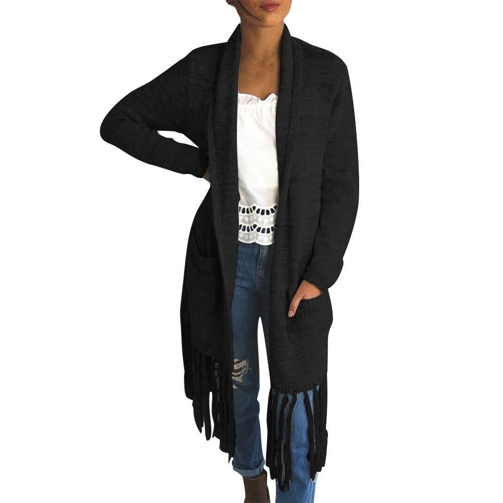 Clearance! Gallity Womens Tassel Cardigan Plus Size Long Sleeve Tops Sweater Coat (XL, Black)