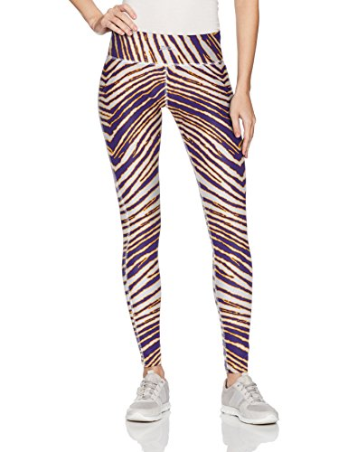 Zubaz Unisex Casual Printed Athletic Lounge Leggings, Purple/Gold, L -