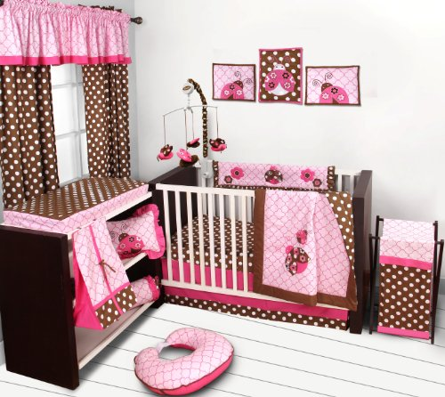 - Bacati Ladybugs 10 Piece Crib Bedding Set with 2 Crib Fitted Sheets, Pink/Chocolate