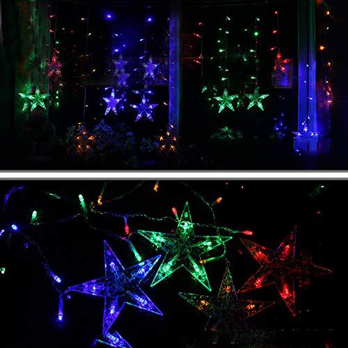 Star Christmas Lights,120 LED Star Curtain Lights,Waterproof Star Lights Decorative Bedroom Indoor Outdoor Window Wedding Party Garden,220 V, Warm -