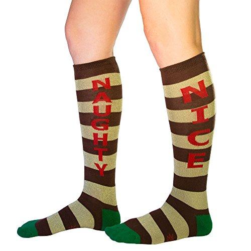 Gumball Poodle Naughty Nice Dress Knee Socks (Brown/Metallic Gold/Green/Red,O/S) -