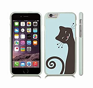 iStar Cases? iPhone 6 Case with Smiling Cat, Animated Cat, Grey with Pink Nose on Baby Blue Background , Snap-on Cover, Hard Carrying Case (White) by ruishername