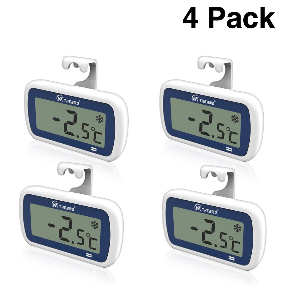 "4 Pack Waterproof Freezer/Refrigerator Thermometer with 2"" Large LCD, IP65 Alarm–Professional Digital Accurate Mini Fridge thermometer – for Fridge, Refrigerator, Freezer, rv Freezer Fresh Stored (4)"
