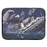 SWAKOJIJI Sloth Titanic 13/15 Inch Laptop Sleeve Bag for MacBook Air 11 13 15 Pro 13.3 15.4 Portable Zipper Laptop Bag Tablet Bag,Diving Fabric,Waterproof Black