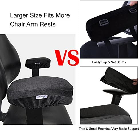 Aloudy Ergonomic Memory Foam Office Chair Armrest Pads, Comfy Gaming Chair Arm Rest Covers For Elbows And Forearms Pressure Relief(Set Of 2)