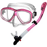 285890-Pink, Snorkeling Purge Mask and Dry Snorkel Combo set