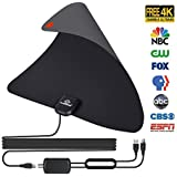 TV Antenna, N N.ORANIE Amplified HD Digital TV Antenna Indoor 50-85 Miles Range Detachable Amplifier Signal Booster 13ft Coax Cable All Local Broadcast 4K/HD/VHF/UHF Signal Channels Freeview
