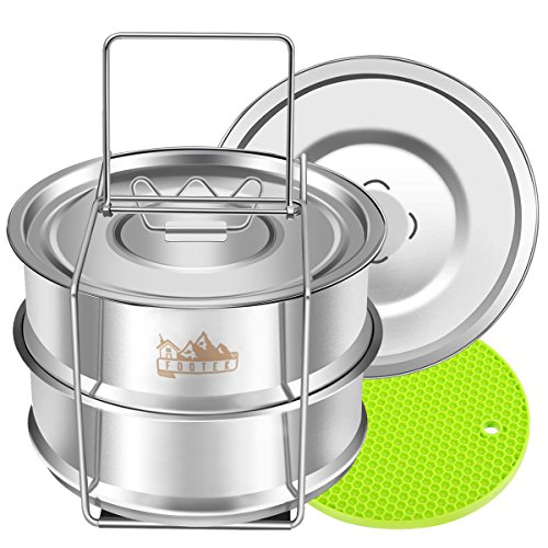 Stackable Steamer Insert Pans with Sling, Footek Stainless Steel Food Steamer for Pressure Cooker Pot and Baking, Instant Pot Accessories for 5, 6, 8 Qt, Breathable Cover and Airtight Cover included ()