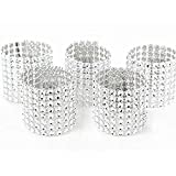 Jiamingyang 50pcs Napkin Rings Rhinestone Napkin Rings Adornment for Wedding Party (Silver)