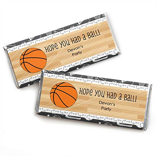 Basketball Bar - Custom Nothin' But Net - Basketball - Personalized Baby Shower or Birthday Party Favors Candy Bar Wrappers - Set of 24