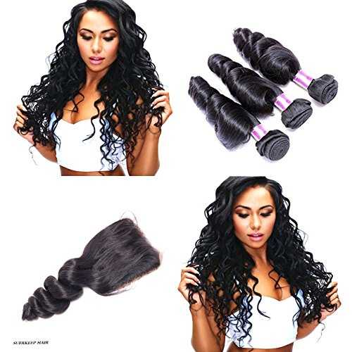 Suerkeep Virgin Brazilian loose Wave 3 Bundles With Free Part Lace Closure Remy Unprocessed Crochet Loose Wave Human Hair Extensions Can Be Dyed, Bleached And Restyled (18 20 22+16, #1b) by Suerkeep