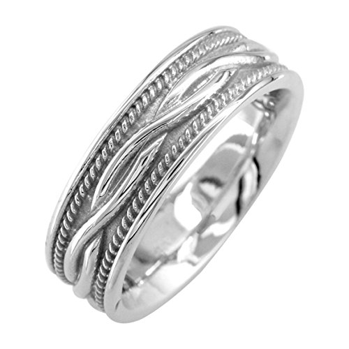 Wide Infinity Wedding Band with Rope Design in Sterling Silver, 8mm size 7 by Sziro Infinity Wedding Bands
