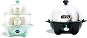 Dash Deluxe Rapid Egg Cooker, Aqua & black Rapid 6 Capacity Electric Cooker for Hard Boiled, Poached, Scrambled Eggs, or Omelets with Auto Shut Off Feature, One Size
