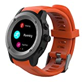 Parnerme GPS Running Watch Heart Rate Monitor Sport Watch With Smart Notifications Compatible IOS 8.0 and above & Android 4.4 and above , With 3-4 days Standby time Magnetic Charging Station (Orange)