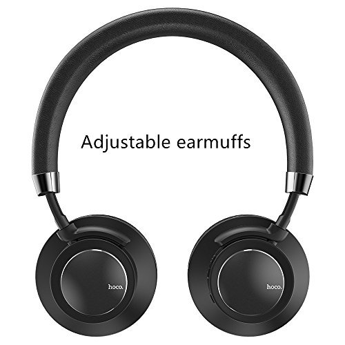 Price comparison product image HOCO Bluetooth Headphones Over Ear,  Hi-Fi Stereo Wireless Headset,  Adjustable earmuffs,  Soft Memory-Protein Earmuffs,  with Built-in Mic and Wired Mode for PC / Cell Phones / TV (Black)