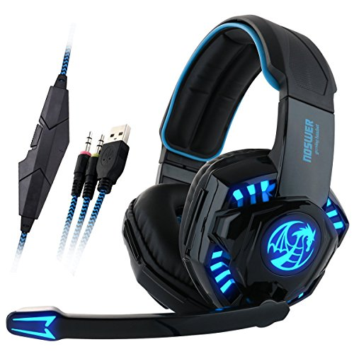 Gaming Headset, GranVela I8 Wired Over-Ear Stereo PC Headphones with Mic, Noise Isolation and LED Lighting for PC/Computer/Laptops - Blue
