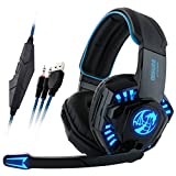 GranVela® I8 Wired Gaming Headset Over-Ear Stereo Headphones with Mic, Noise Isolation and LED Lighting for PC Computer Laptops - Blue