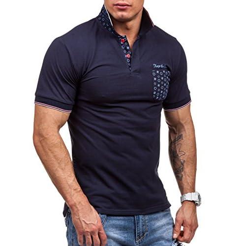 cf301db660040 BOLF Hombre Larga Camiseta Con Impresión y Cuello Polo Manga Corta JACK  DAVIS 158 mejor