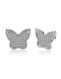 BALANSOHO 925 Sterling Silver Cubic Zirconia Butterfly 15mm Post Stud Earrings Elegant