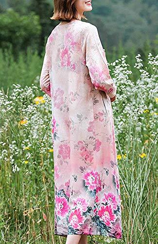 DISSA Party Kleider 3 Cocktail Rosa Leinen Damen Retro Baumwolle Q32345 Kleid Maxi Feiertagskleid 4 Lose Arm 7pn7rqAxF