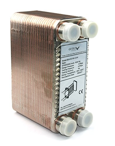 "Brazed 50 Plates Heat Exchanger and Wort Chiller,50 Plates Wort Chiller R 3/4"" X 4,Stainless Steel Beer Chiller for Homebrew or Water Heater"