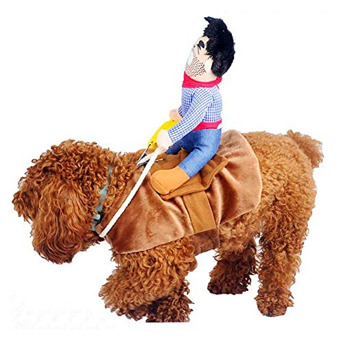 Hotumn Dog Costume Pet Costume Pet Suit Cowboy Rider Style Dog Halloween Costume Pet Funny Clothes (L) -