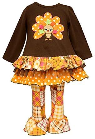 Amazon com bonnie jean little girls turkey patchwork legging set