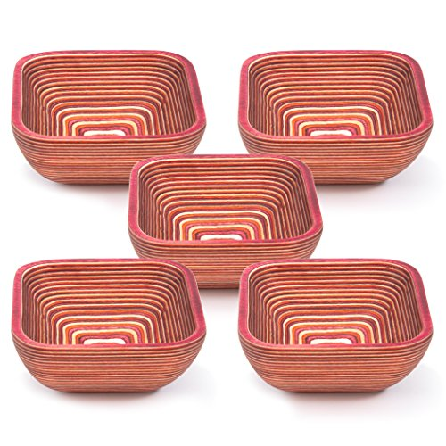 (Exotic PakkaWood Condiment Bowls Set - 5 Stacking Square Bowls for Condiments, Snacks, and More by Crate Collective (Sunrise))