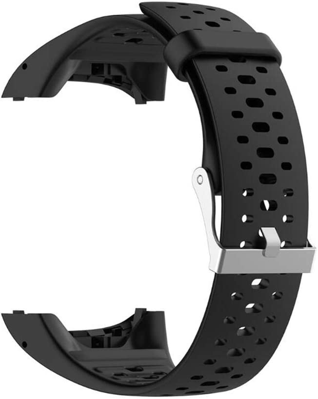 WSDF Correa de Repuesto para Reloj Inteligente Polar M400/M430 GPS, Unisex, Ajustable, de Silicona Suave, Accesorio para Polar M400/M430, Color Negro